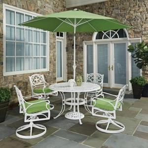 Biscayne White 7 Piece Outdoor Dining Set With Green Cushions