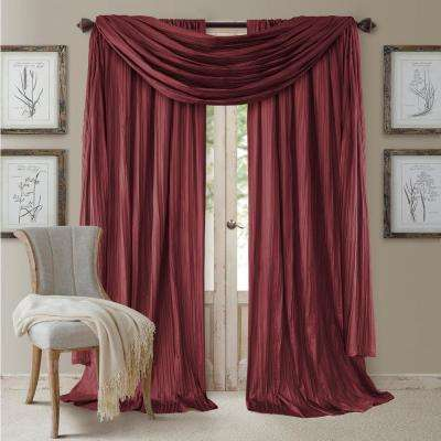 Red Rod Pocket 2-Window Curtain Panel - 52 in. W x 84 in. L and 1-Scarf Valance - 52 in. W x 216 in. L