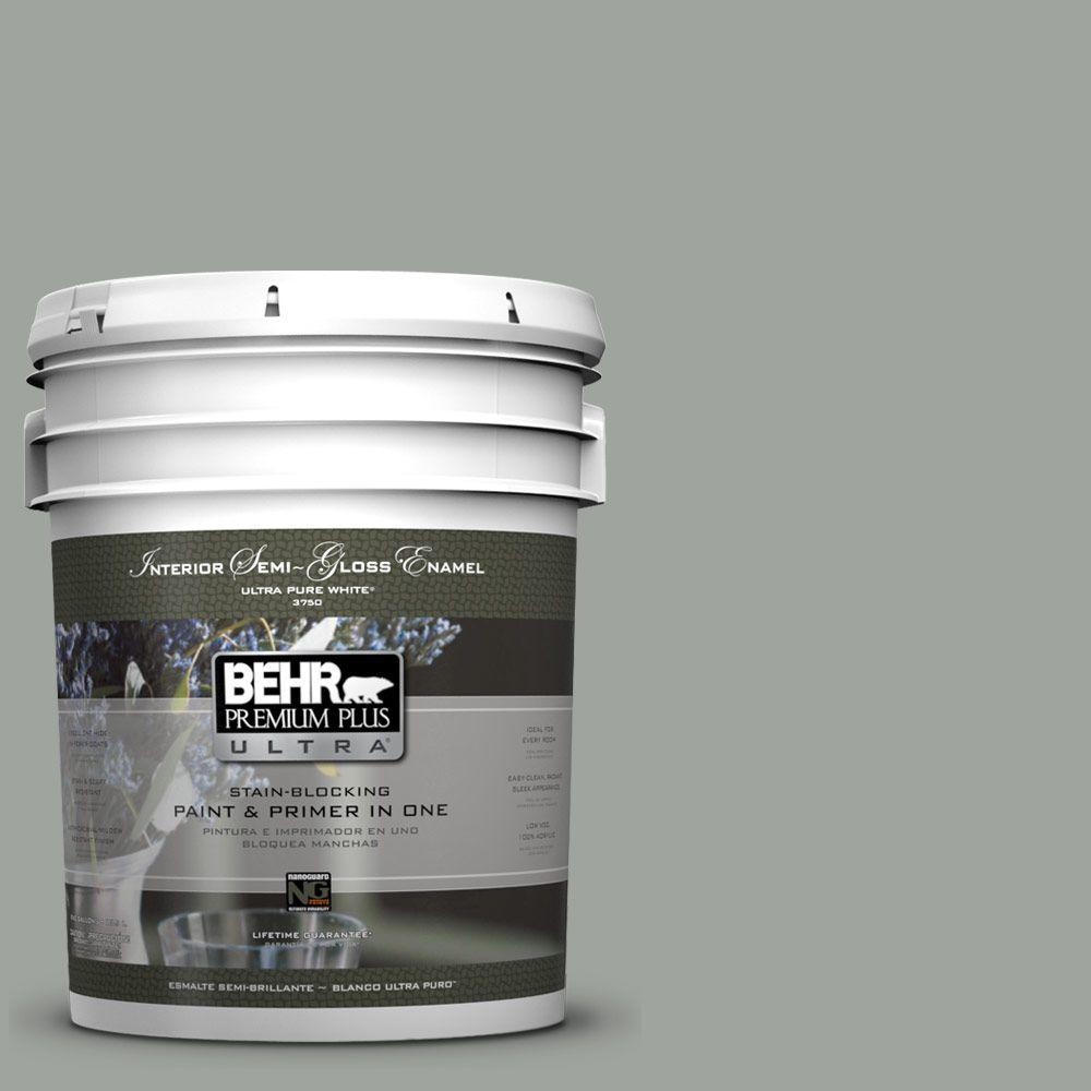 5-gal. #710F-4 Sage Gray Semi-Gloss Enamel Interior Paint