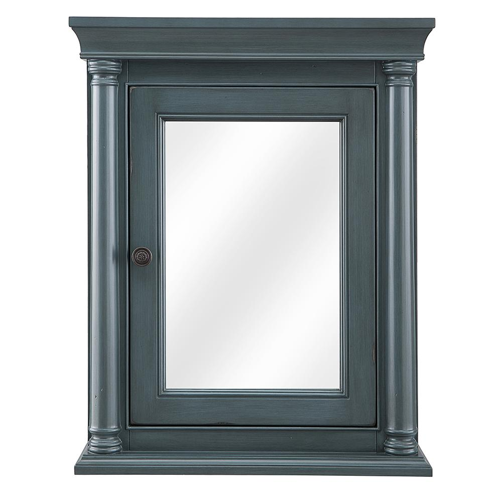 Home Decorators Collection Strousse 24 in. W x 30 in. H Surface Mount Mirrored Medicine Cabinet in Distressed Blue Fog
