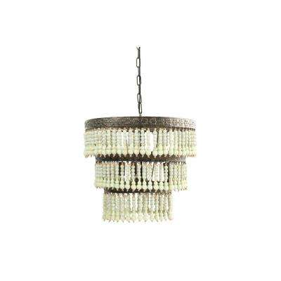 3-Light Green 3-Tier Chandelier with Wood Bead Shade