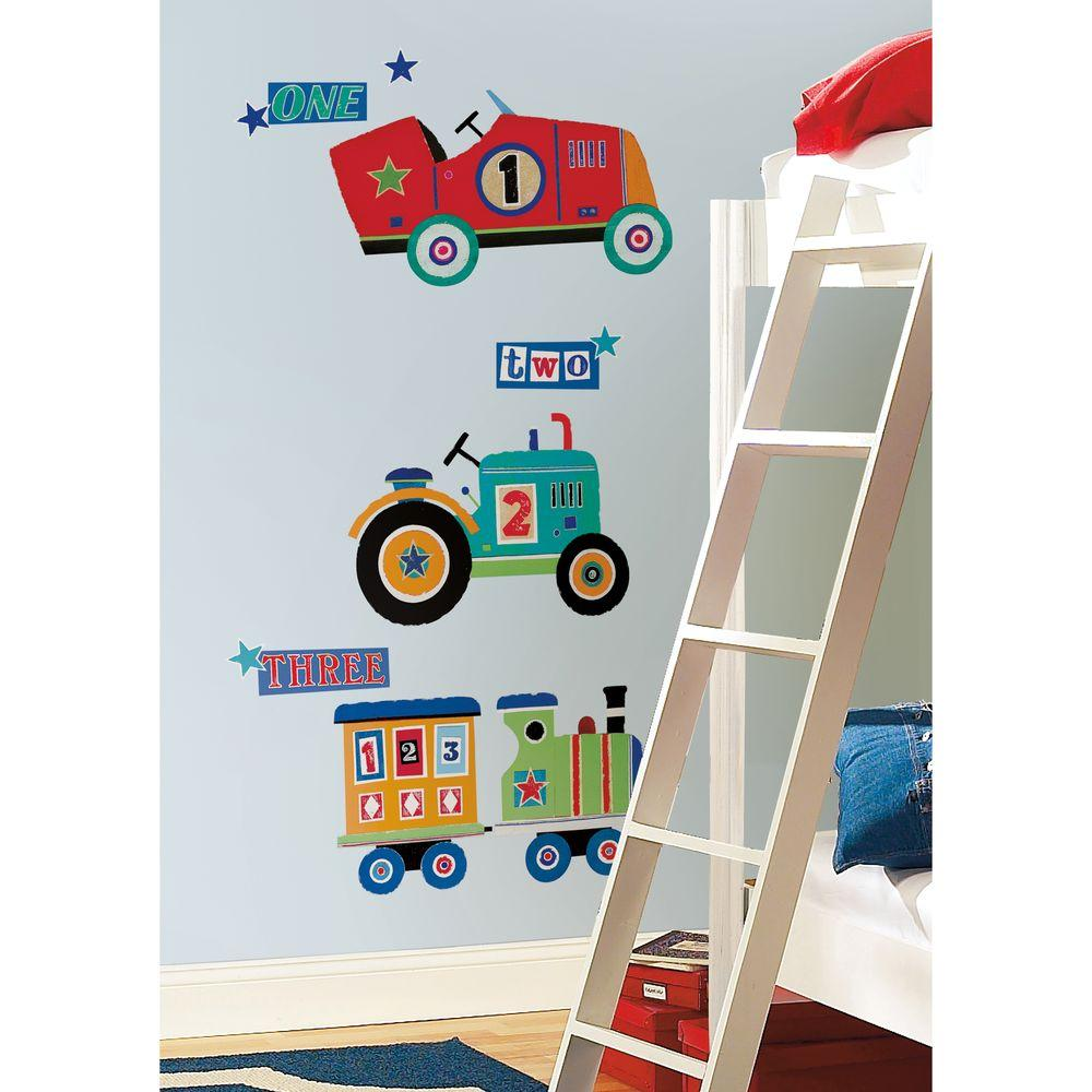 null 27 in. x 40 in. Transportation Giant 16-Piece Peel and Stick Wall Decals
