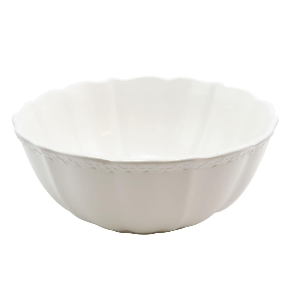 Caf Posh 10 in. White Color Serving Bowl