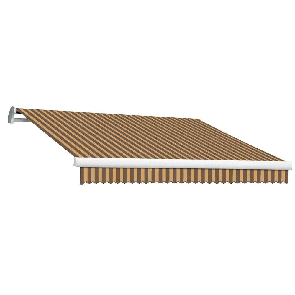 Beauty-Mark 20 ft. MAUI EX Model Left Motor Retractable Awning (120 in. Projection) in Brown and Tan Stripe