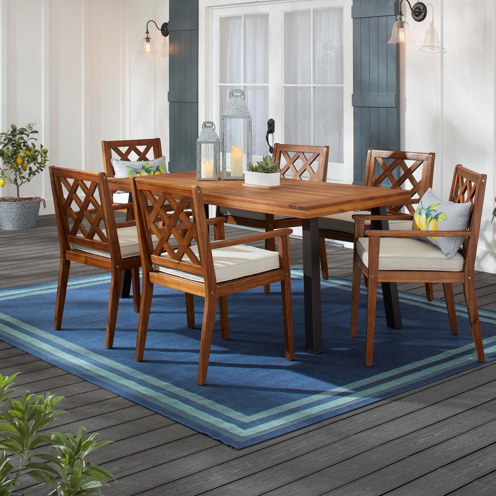 Hampton Bay Willow Glen Farmhouse 7 pc Wood Outdoor Patio Dining Set w/ Teak Finish and Beige Cushion