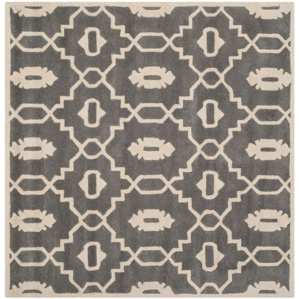Safavieh Chatham Dark Grey/Ivory 5 ft. x 5 ft. Square Are...
