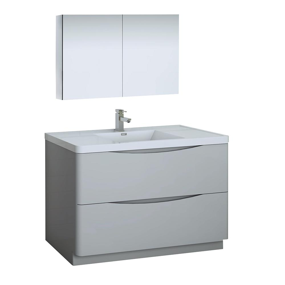 Tuscany 48 in. Modern Bathroom Vanity in Glossy Gray with Vanity