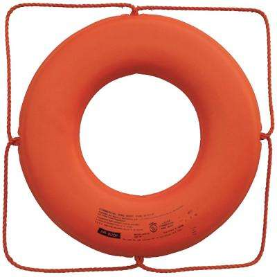 30 in. Closed Cell Foam Life Ring with Rope Molded into Core in Orange