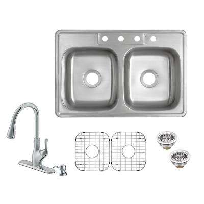 All-in-One Drop-In 20-Gauge Stainless Steel 33 in. 4-Hole 50/50 Double Bowl Kitchen Sink with Pull-Out Kitchen Faucet