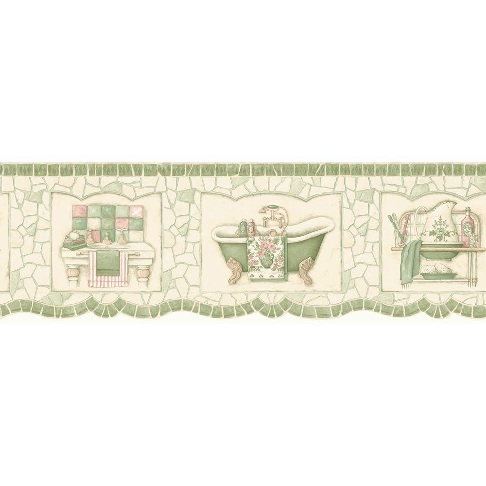 The Wallpaper Company 6.75 in. x 15 ft. Green Pastel Mosaic Bath Tub Border