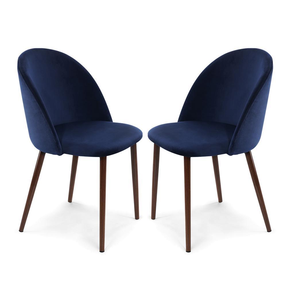 Surprising Sedona Space Blue Velvet Dining Chair Set Of 2 Spiritservingveterans Wood Chair Design Ideas Spiritservingveteransorg
