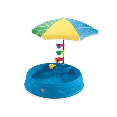 Round Play and Shade Plastic Kiddie Pool with Umbrella