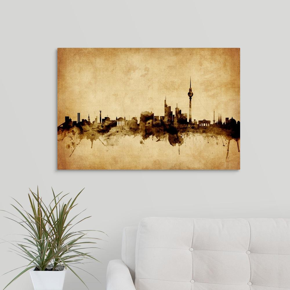 30 in. x 20 in. ''Berlin Germany Skyline'' by  Michael Tompsett Canvas Wall Art