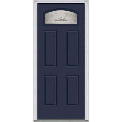 36 in. x 80 in. Master Nouveau Right-Hand Inswing 1/4-Lite Decorative Painted Fiberglass Smooth Prehung Front Door