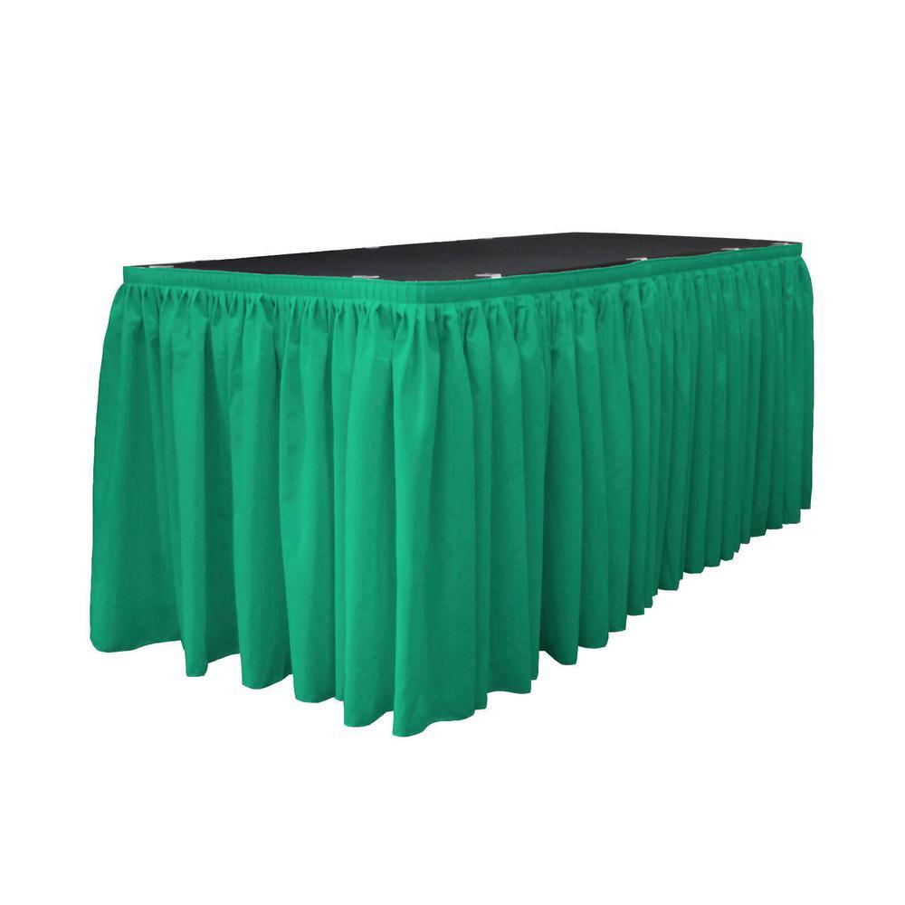 bcc3b1e039 LA Linen 14 ft. x 29 in. Long Jade Polyester Poplin Table Skirt with ...