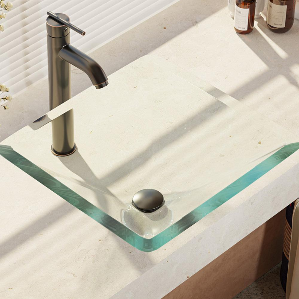 Rene Glass Vessel Sink in Crystal with R9-7001 Faucet and Pop-Up Drain in Antique Bronze