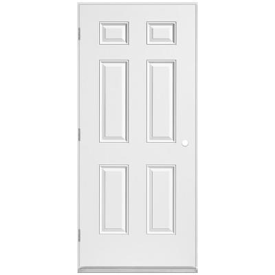 36 in. x 80 in. Utility 6-Panel Right-Hand Outswing Primed Steel Prehung Front Exterior Door