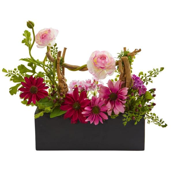 Nearly Natural Indoor Daisy and Ranunculus Artificial Arrangement in Black Vase