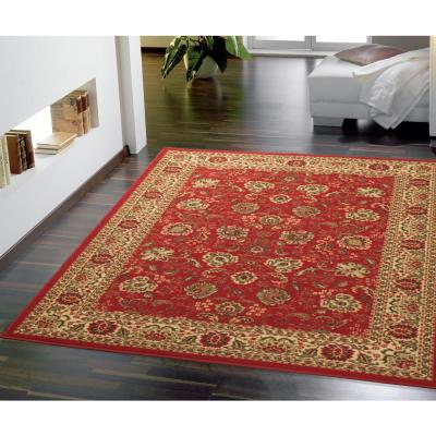Ottohome Collection Traditional Floral Design Dark Red 5 ft. x 7 ft.  Area Rug