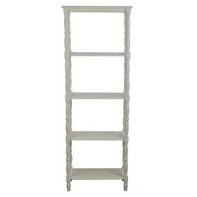 Simplify Off-White 5-Tiered Bookcase
