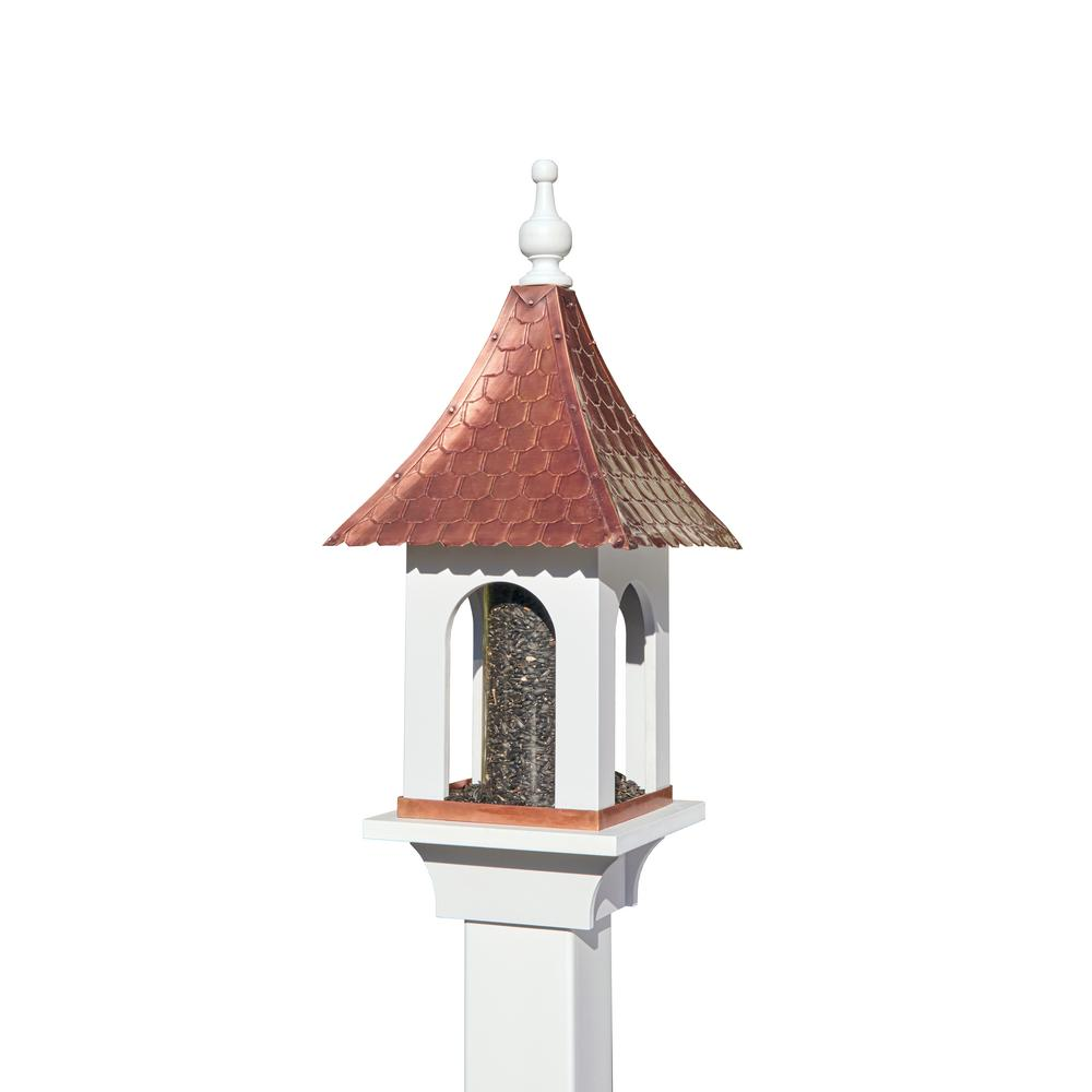 Large Seed Capacity Bird Feeder with Pure Copper Roof, Co...