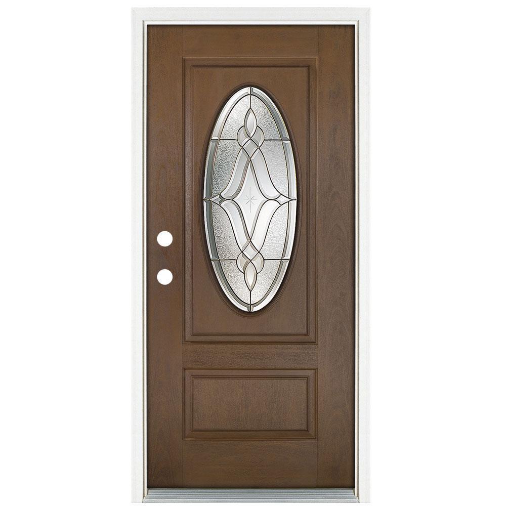 36 in. x 80 in. Medium Oak Right-Hand Inswing Distinction Oval Lite Prestige Stained Fiberglass Prehung Front Door