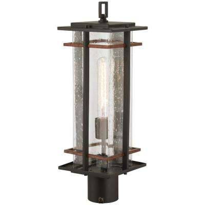 San Marcos 1-Light Black Outdoor Post Mount with Antique Gold Highlights