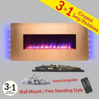 48 in. Wall Mount Freestanding Convertible Electric Fireplace Heater in Gold w/ Pebbles, Logs, Crystal, Remote Control
