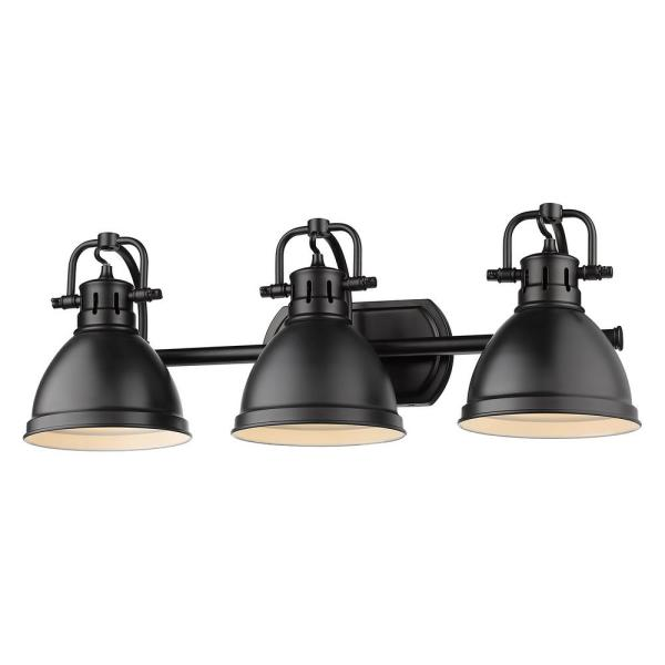 Globe Electric 25 In 5 Piece Bath In A Box 3 Light Matte Black Vanity Light With Cage Shades 51602 The Home Depot