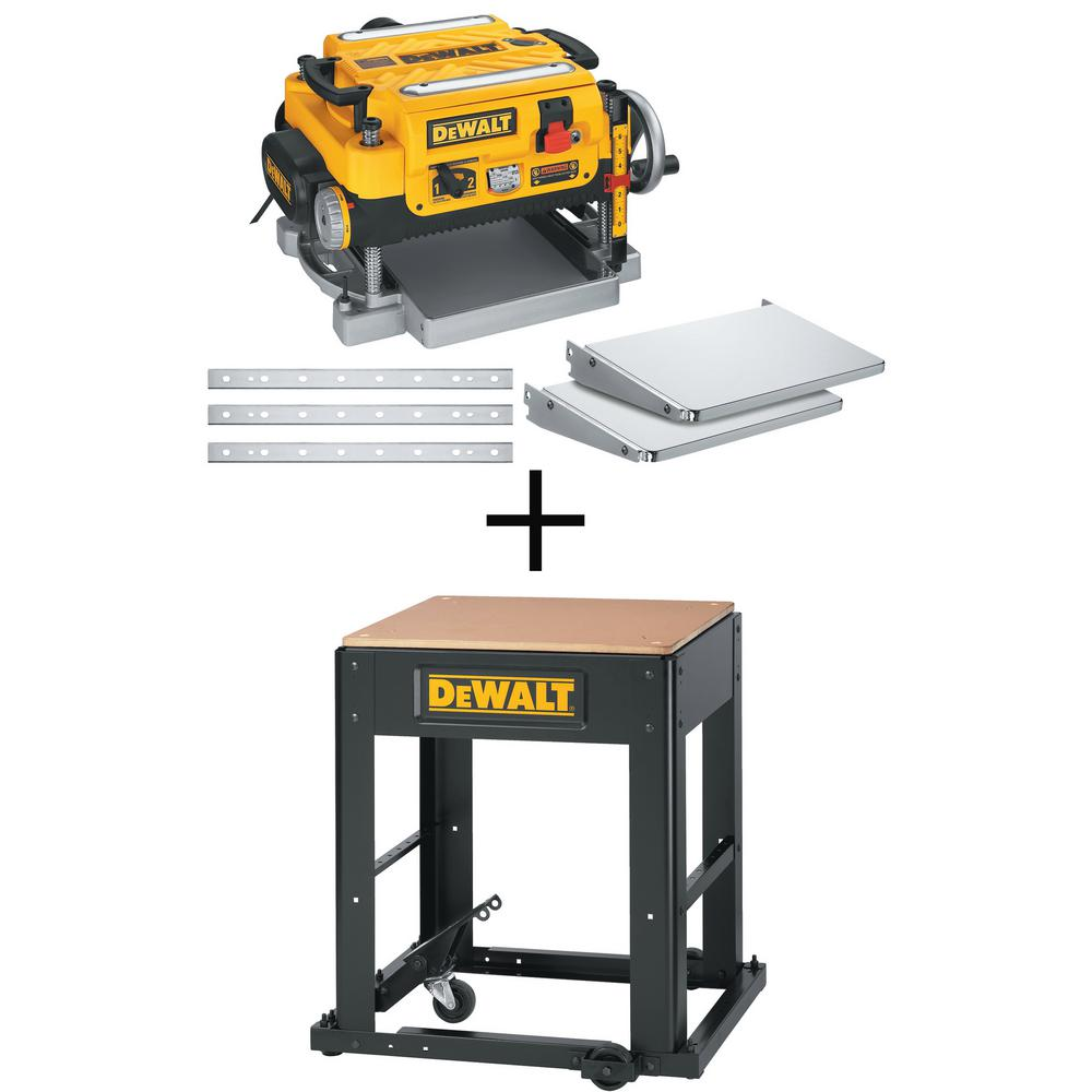 Dewalt 15 Amp 13 In Heavy Duty 2 Speed Thickness Planer With Knives And Tables With Bonus Planer Stand
