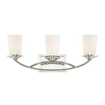 Palatial 3-Light Chrome Interior Incandescent Bath Vanity Light