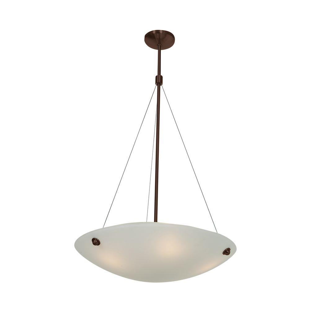 Access Lighting Noya 4-Light Bronze Pendant with White Glass Shade
