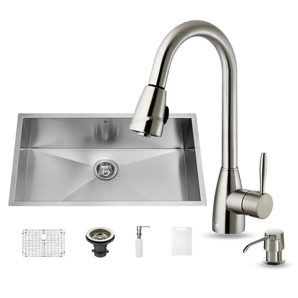 Vigo All In One Undermount Stainless Steel 32 In Single