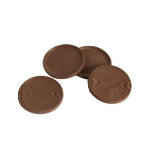 Chocolate Brown Non Slip Rubber Floor Surface Protector Pads Round (Set Of