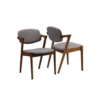 Malone Grey and Dark Walnut Dining Side Chairs (Set of 2)