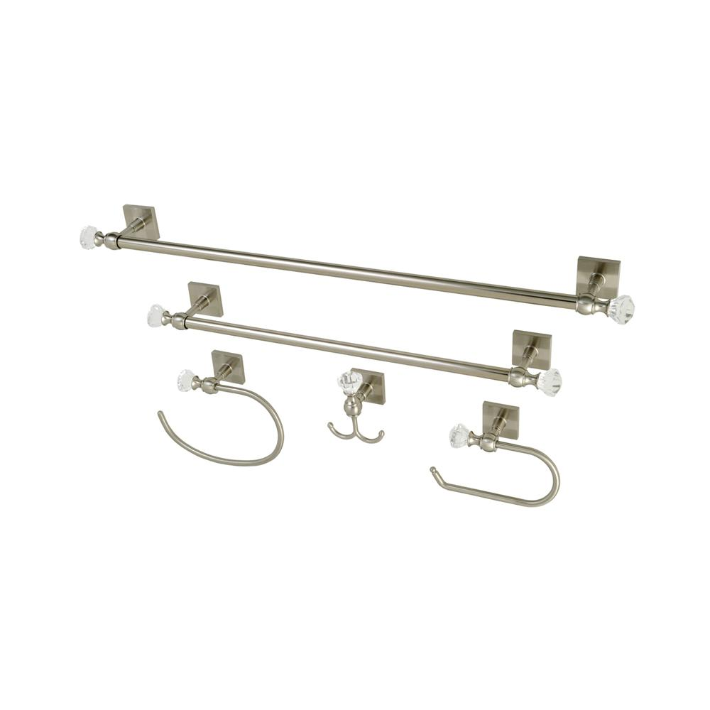 Square Crystal 5 Piece Bath Hardware