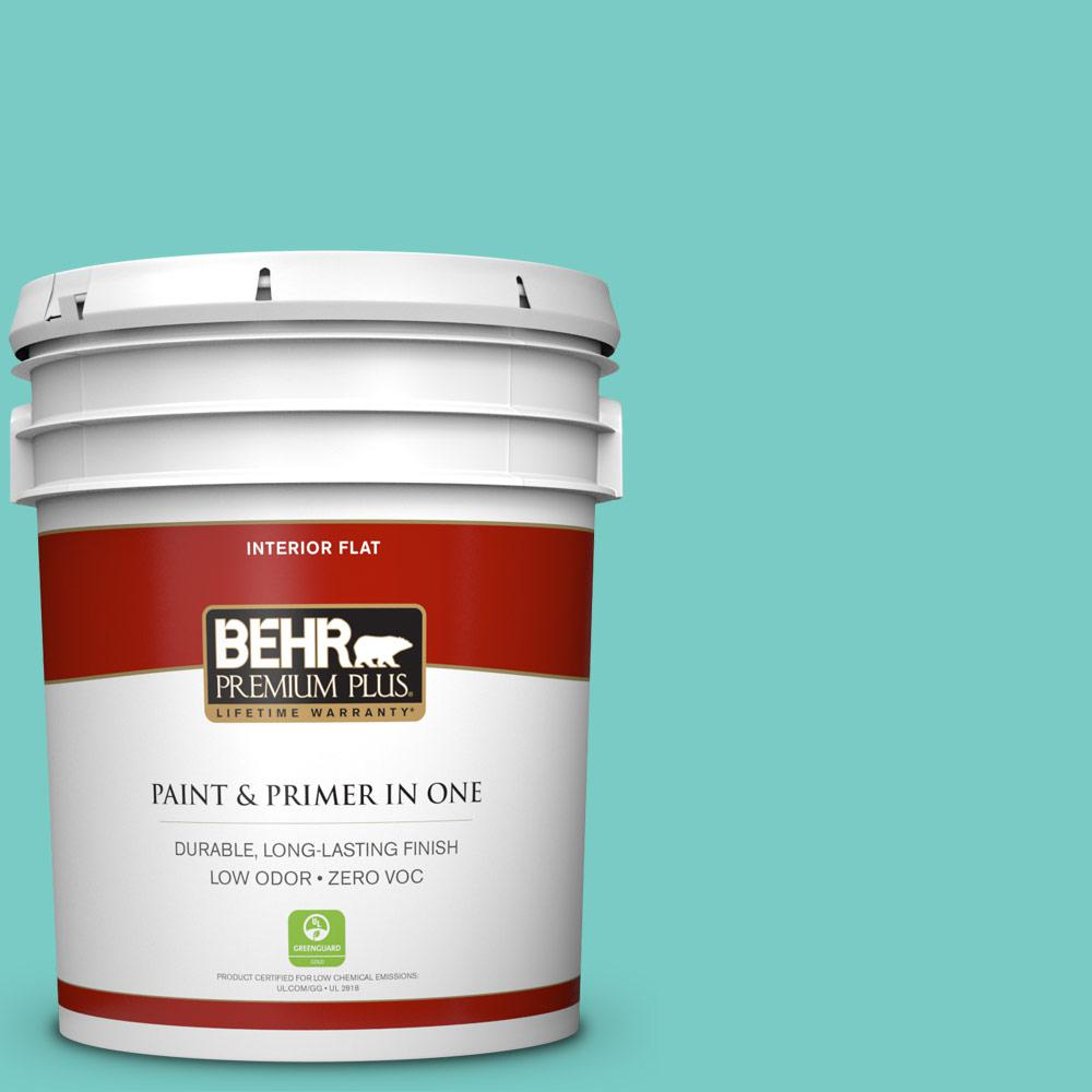 BEHR Premium Plus 5-gal. #BIC-39 Blue Green Gem Flat Interior Paint