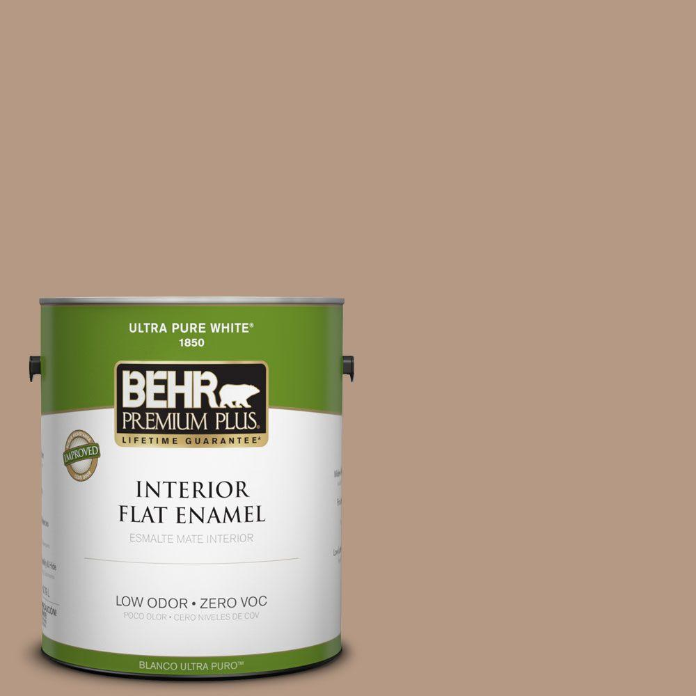 BEHR Premium Plus 1-gal. #250F-4 Stone Brown Zero VOC Flat Enamel Interior Paint-DISCONTINUED