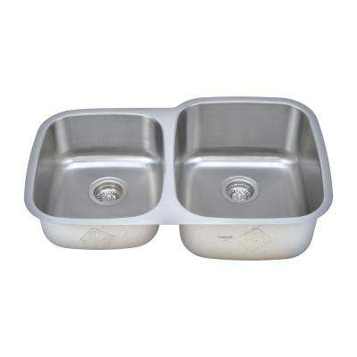 The Chefs Series Undermount Stainless Steel 32 in. 40/60 Double Bowl Kitchen Sink