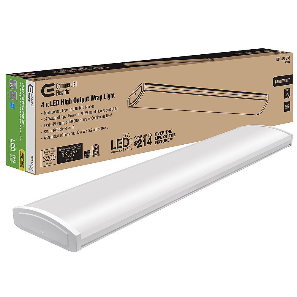 4 ft. High Output 5200 Lumens Integrated LED White Wraparound Light 4000K Bright White 120-277v Multi-Volt Direct Wire