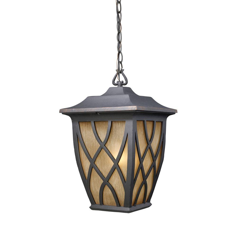 Titan Lighting 1-Light Hanging Outdoor Weathered Charcoal Pendant-DISCONTINUED