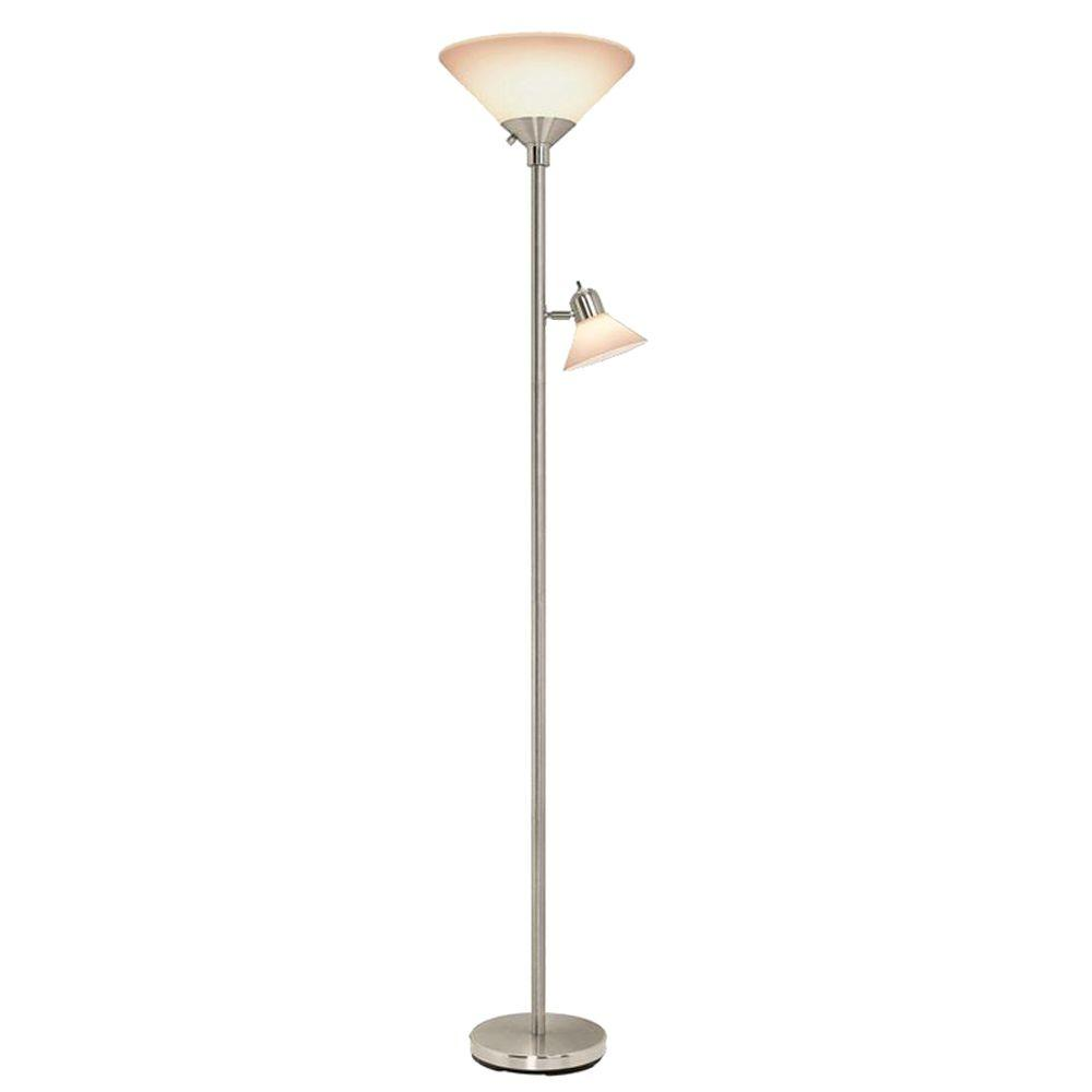 Hampton Bay 71 in. Satin Nickel Floor Lamp with 2 Frosted Plastic Shades