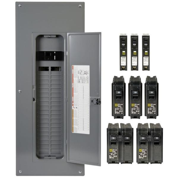 Homeline 200 Amp 40-Space 80-Circuit Indoor Main Breaker Plug-On Neutral Load Center, Cover, 3ct CAFI breaker Value Pack