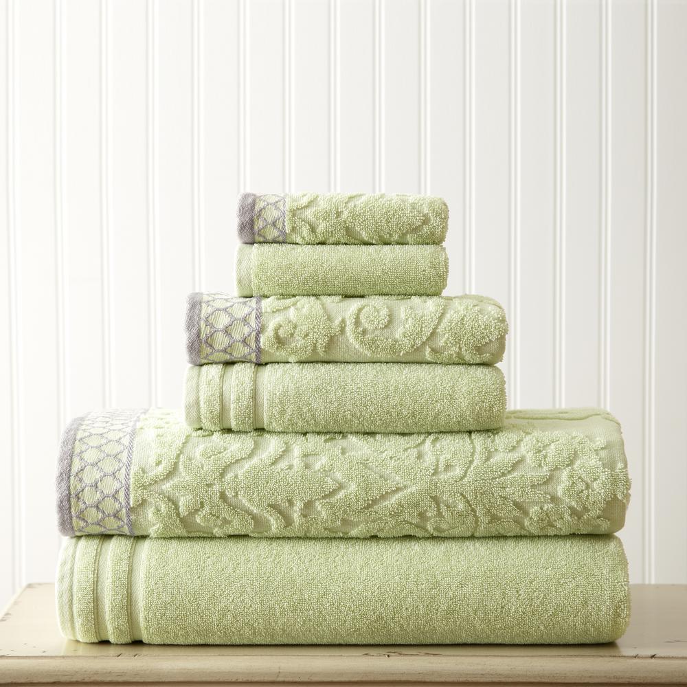 6-Piece Sage Damask Jacquard Towels Set with Embellished Border