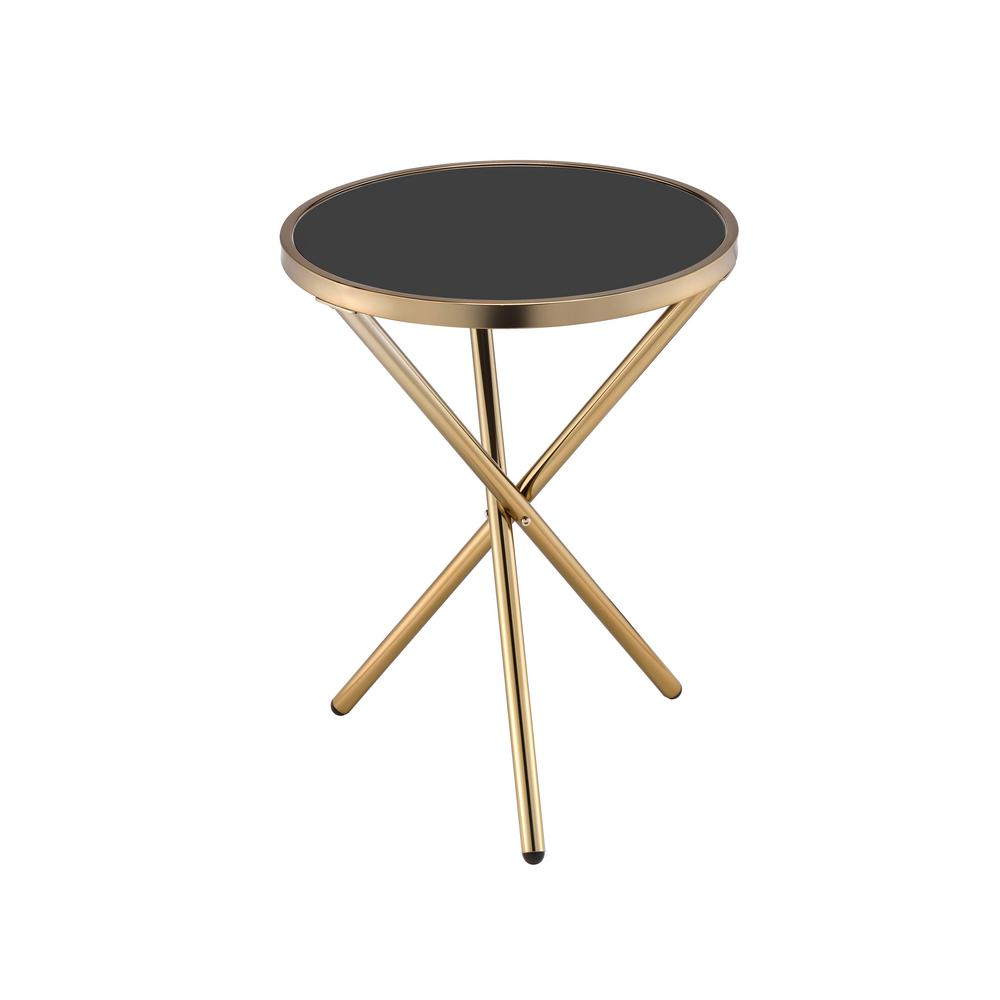 Lajita Black Glass and Champagne Side Table