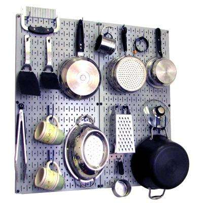 Kitchen Pegboard 32 in. x 32 in. Metal Peg Board Pantry Organizer Kitchen Pot Rack with Gray Pegboard and Blue Peg Hooks
