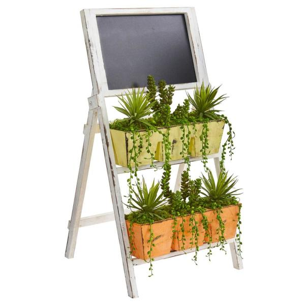 31 in. Indoor Succulent Garden Artificial Plant in Farmhouse Stand with Chalkboard