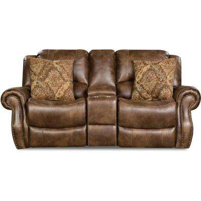 Stratton Chocolate Double Reclining Console Loveseat