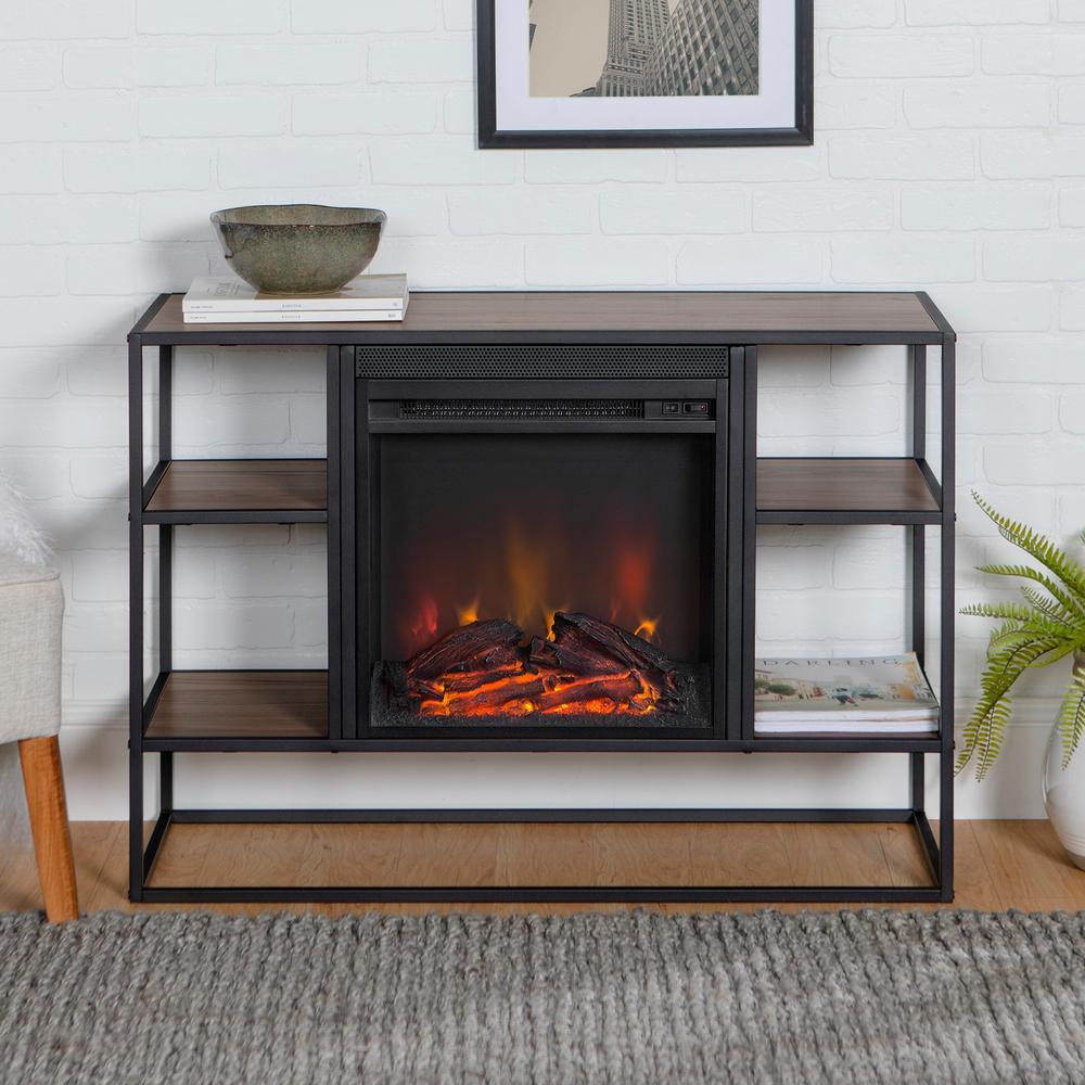 Walker Edison Furniture Company 40'' Metal & Wood Open-Shelf Fireplace