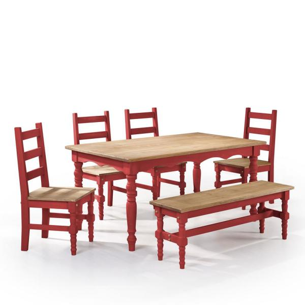 Jay 6 Piece Red Wash Solid Wood Dining Set With 1 Bench 4 Chairs And Table